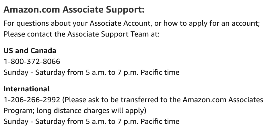 How to contact Amazon Associates program for help