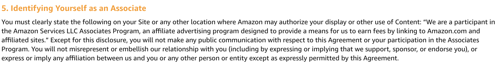 Amazon Associates disclosure requirement