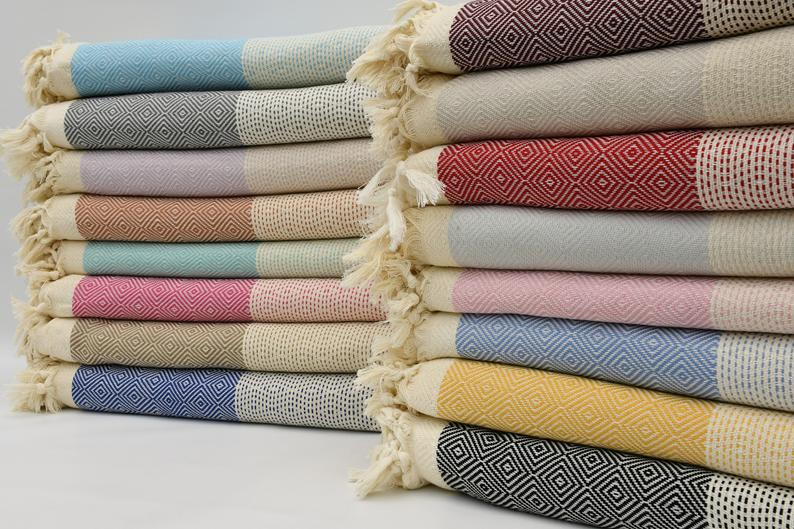colorful cotton turkish blankets