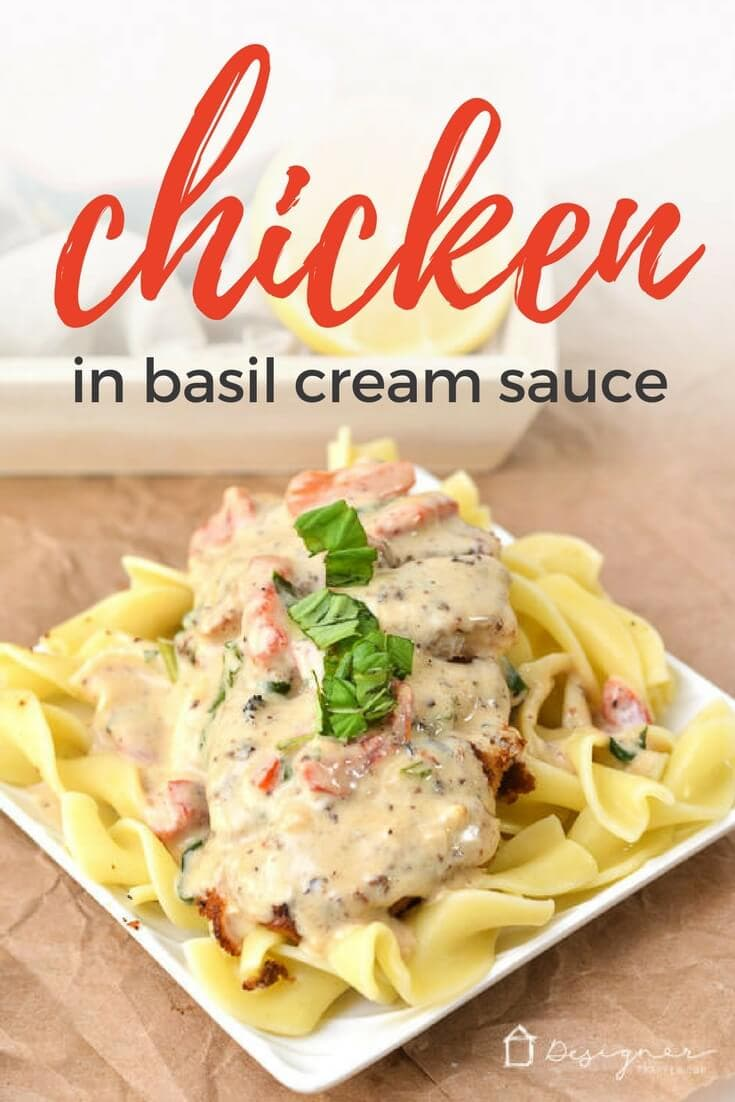 This chicken and basil dish is a nice break from traditional spaghetti. Perfect for a busy school night, it is creamy and delicious and a family favorite! #chickenandbasil #chickenpasta #creamsauce