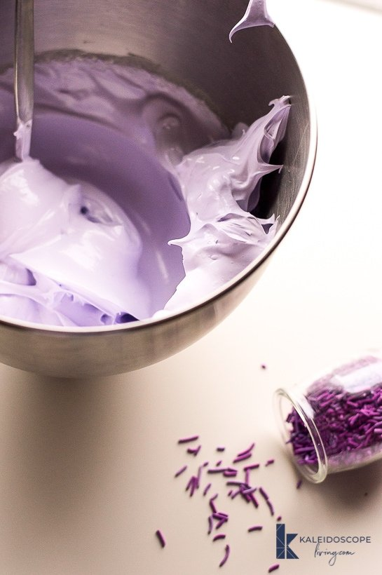 purple meringue cookie batter