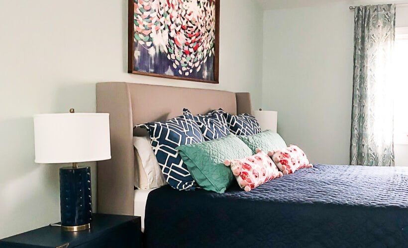 Dreaming of a colorful master bedroom? You can have a colorful master bedroom that is still serene and relaxing! Check out our bedroom and the rest of the bedrooms in this tour blog hop for tons of inspiration.
