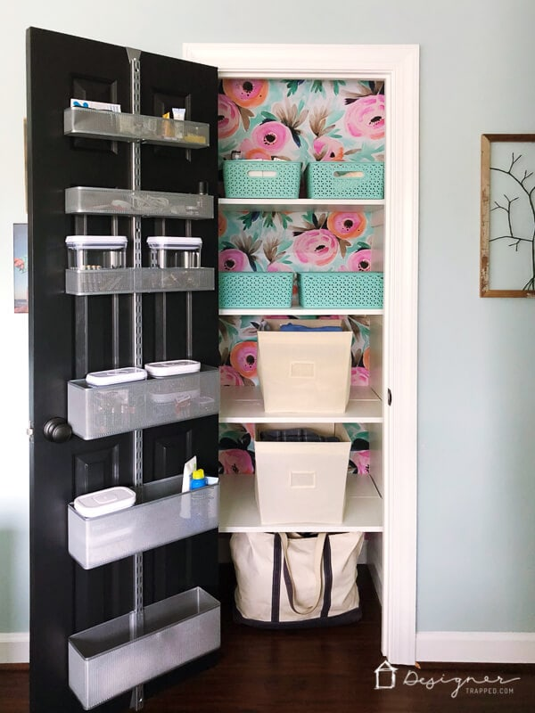 organized colorful linen closet