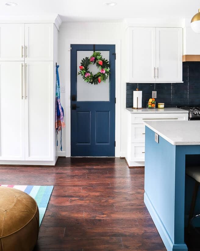 kitchen with blue door