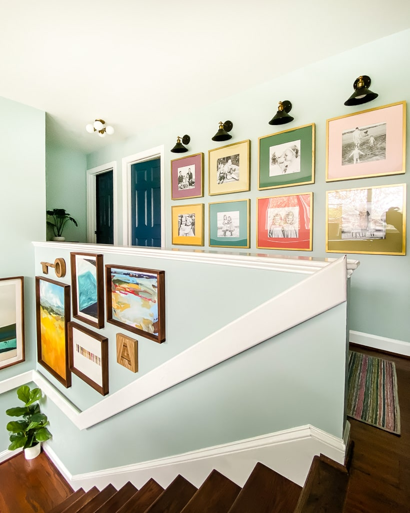 colorful hallway gallery wall