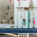 diy jewelry organization hanging on wall