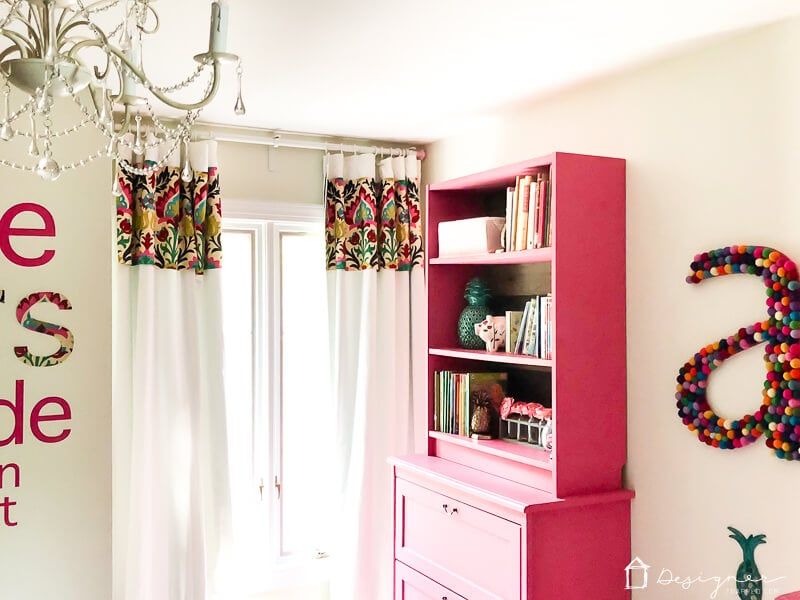 colorful no sew curtains hanging in room