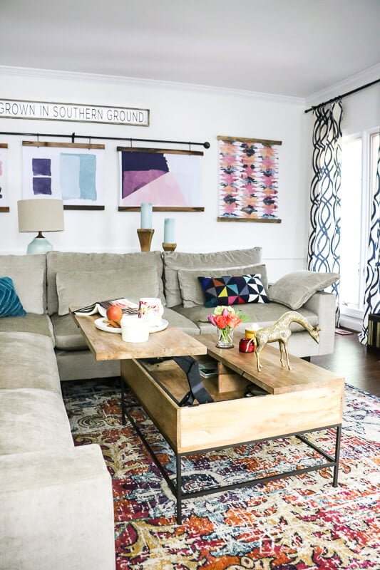 West Elm storage coffee table in family room