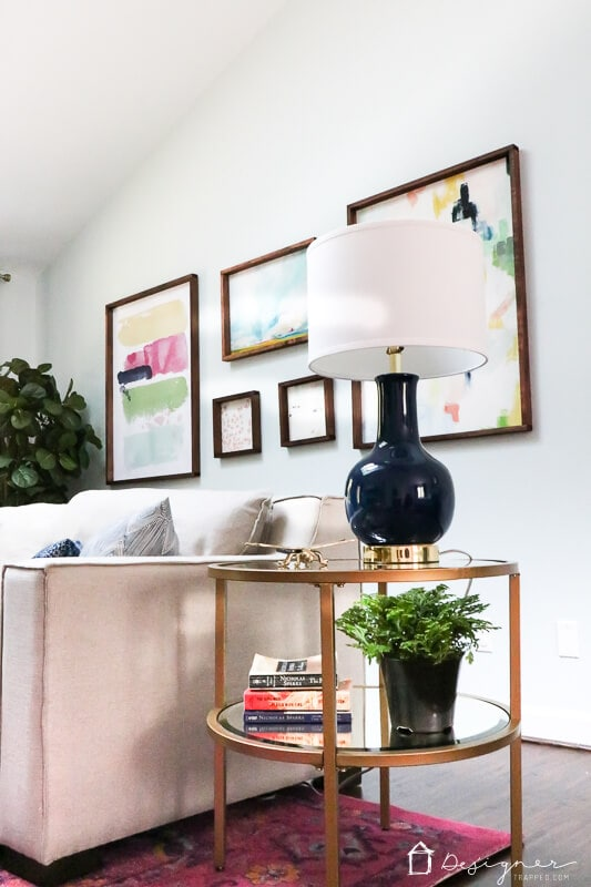 pink and navy master bedroom