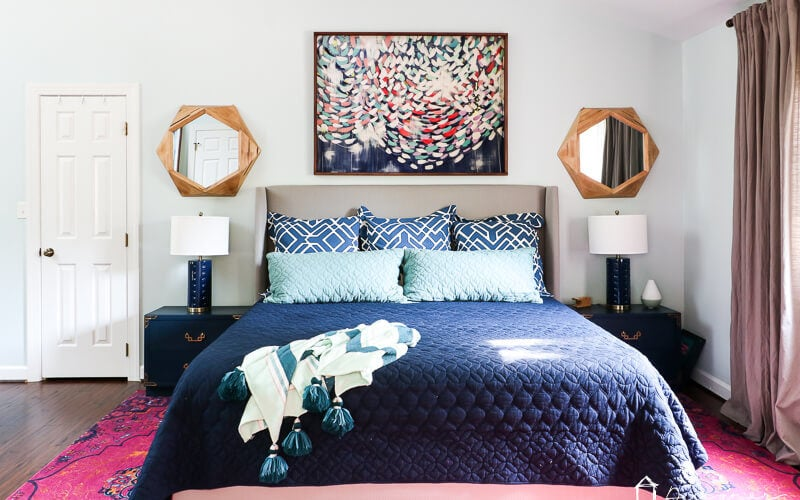 Our Pink and Navy Master Bedroom Reveal | Kaleidoscope Living