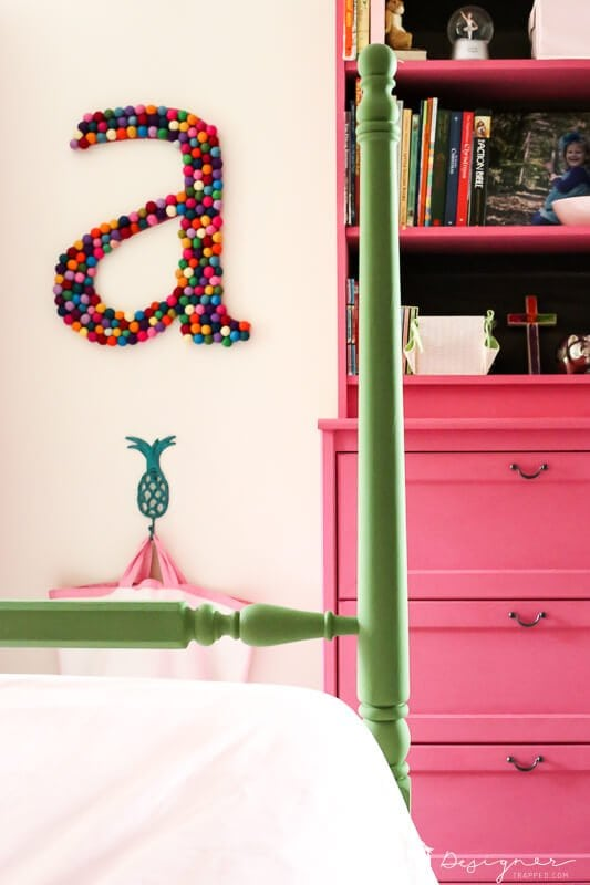 colorful pink and green girl bedroom