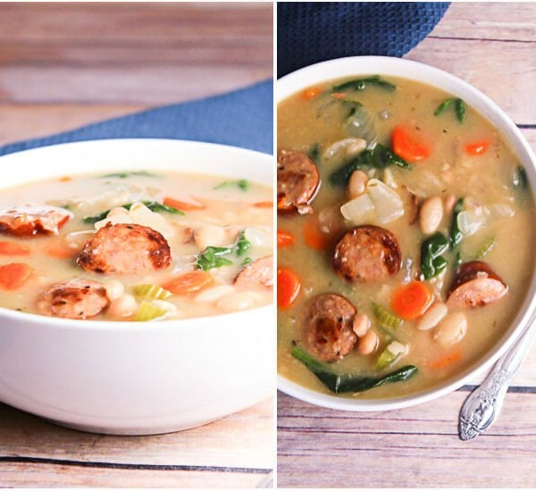 Slow Cooker Sausage, Spinach & White Bean Soup