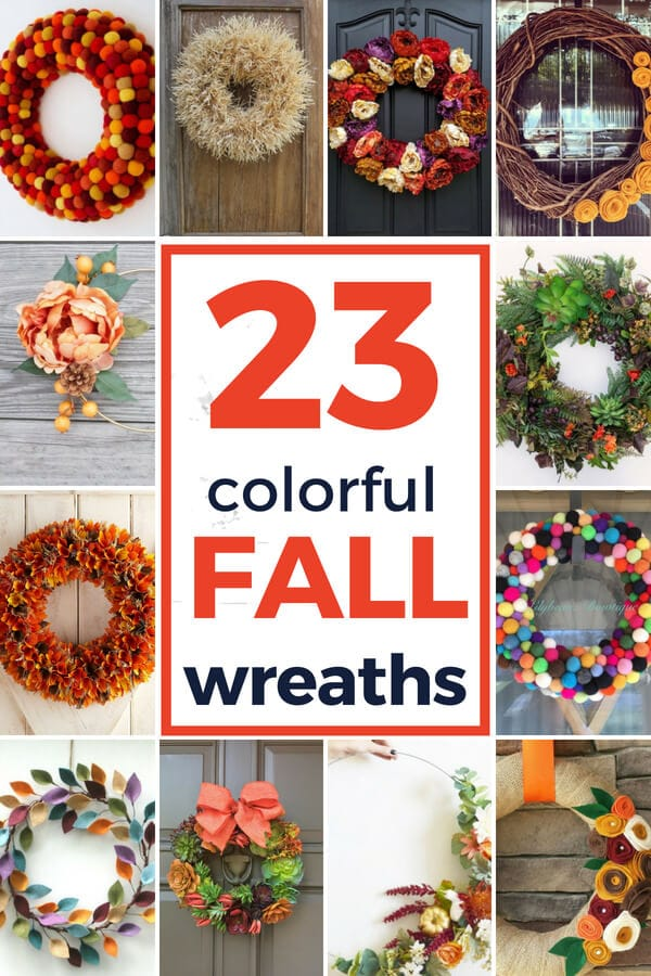 colorful and modern fall wreaths