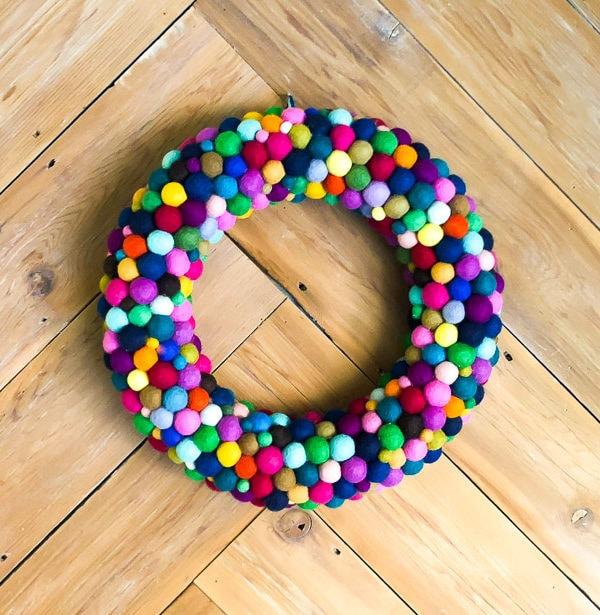 Colorful DIY Wreath Made from Felt Balls