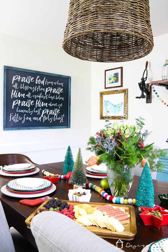 colorful Christmas table
