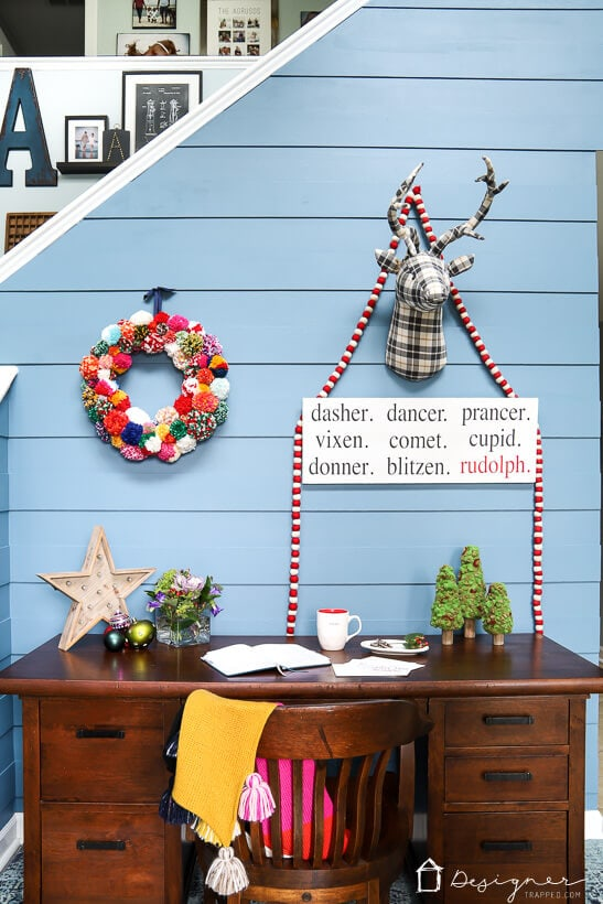 colorful Christmas decor in entry way