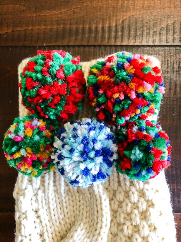 pom pom stocking close up