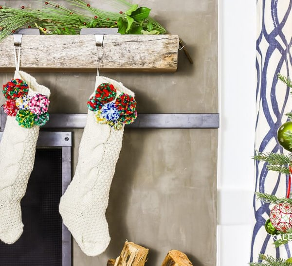 DIY Pom Pom Stockings for Christmas