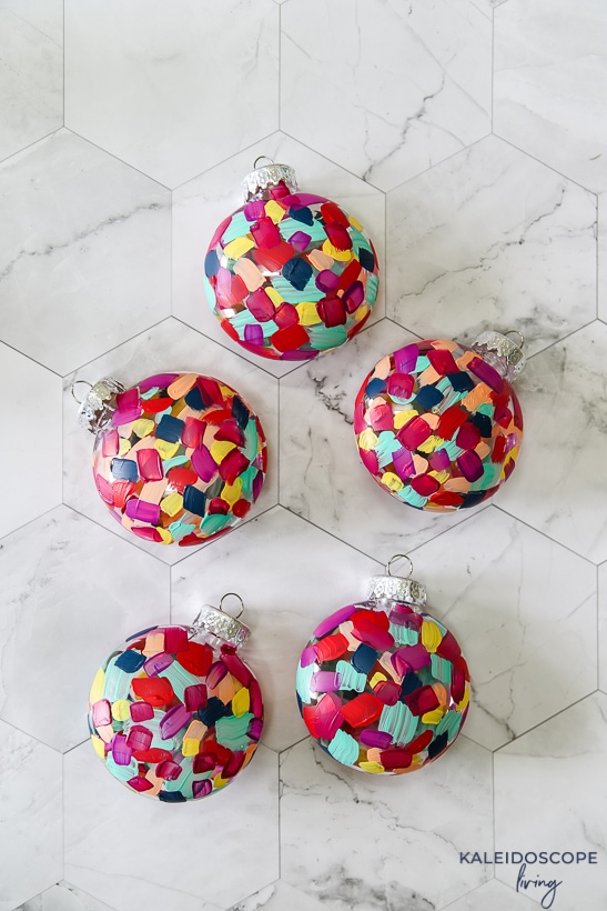 hand painted colorful ornaments