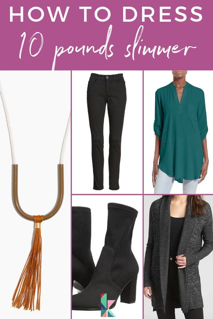 how to dress 10 pounds slimmer graphic