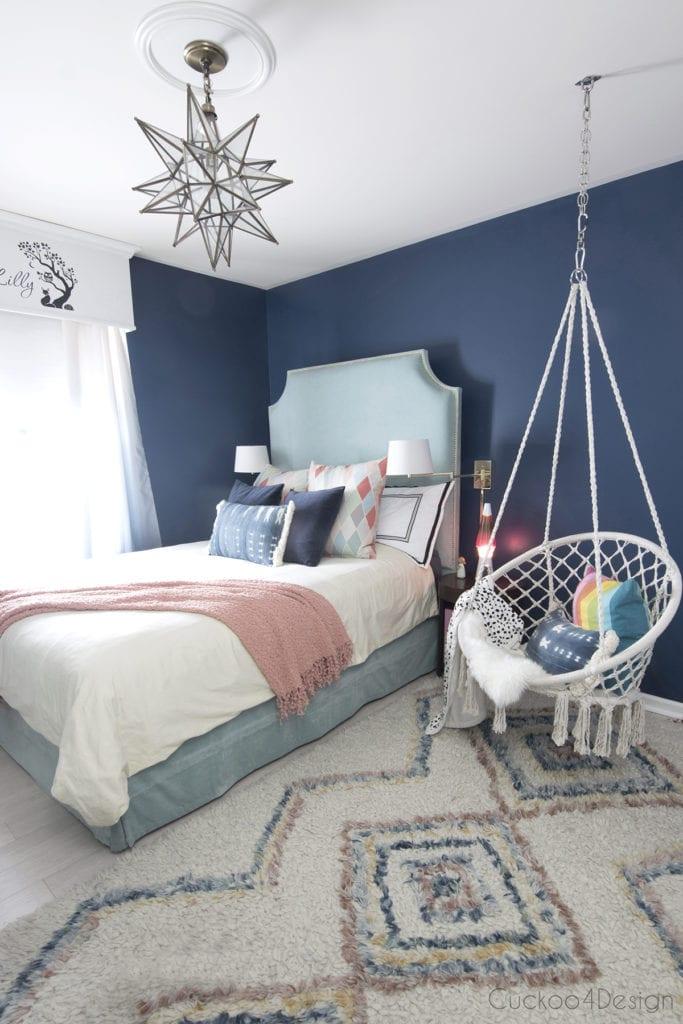 dark blue teen girl room