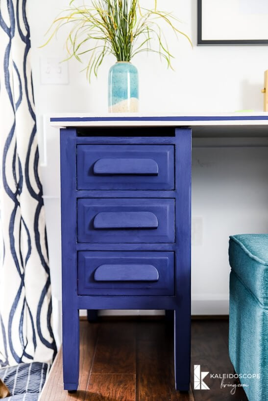 desk painted with Behr Chalk Decorative Paint in Timeless Blue
