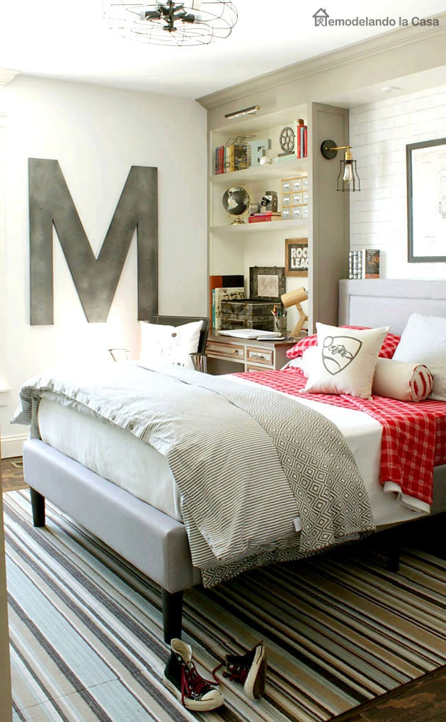 neutral boy room with pops of reds