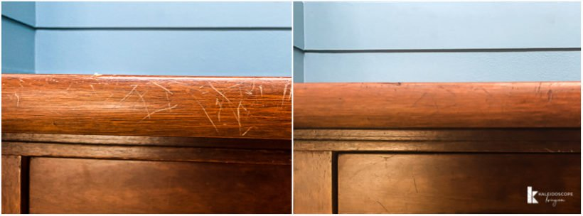 wood stain before and after