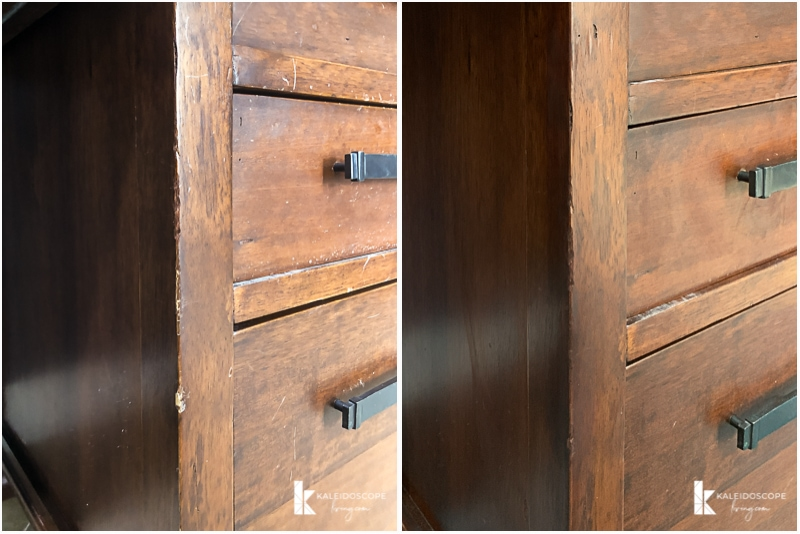 wood stain repair before and after