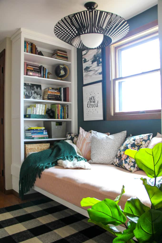 reading nook with IKEA built in bookshelves