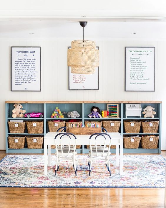 IKEA playroom storage with baskets