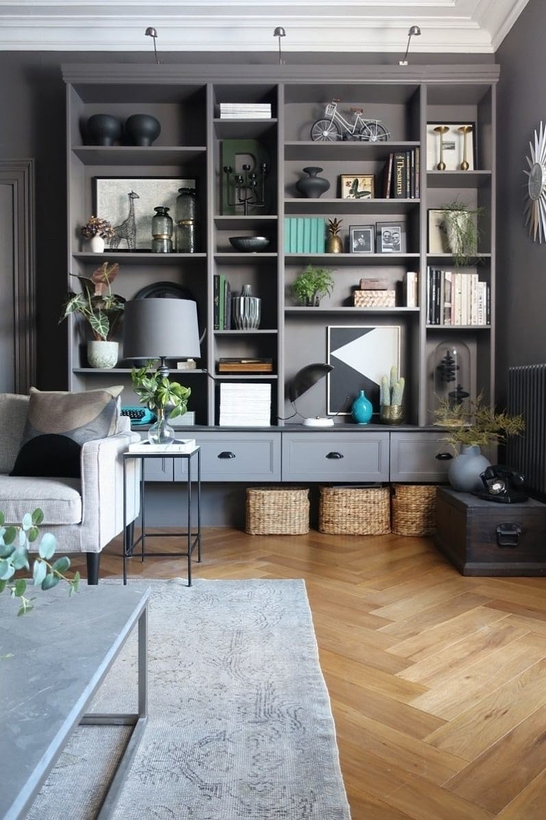 grey IKEA built in shelves