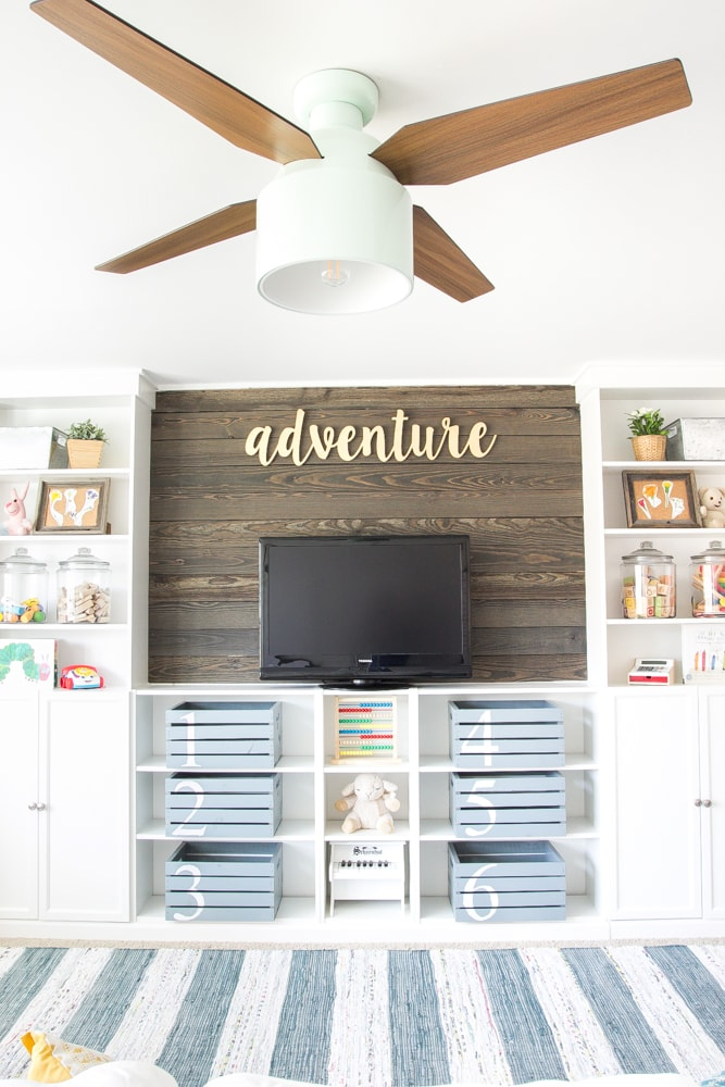 playroom built ins with shiplap wall