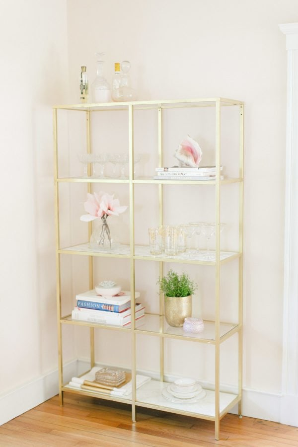 gold IKEA book shelf