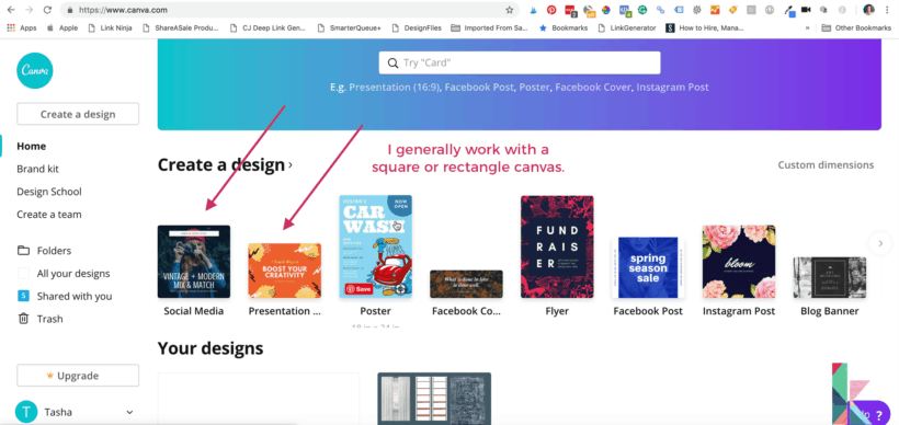 how to make design boards using Canva