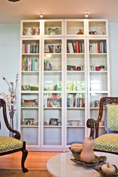 IKEA shelves with glass doors