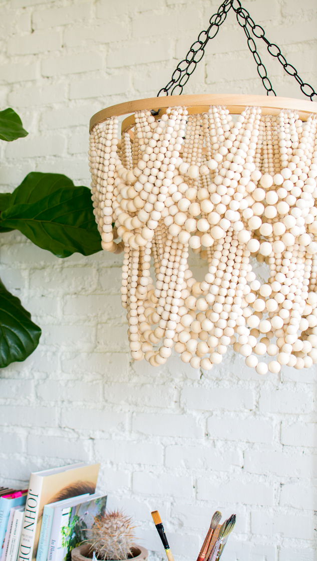 Layered bead chandelier