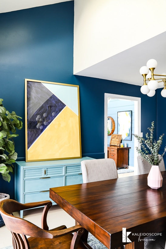 eclectic peacock blue dining room