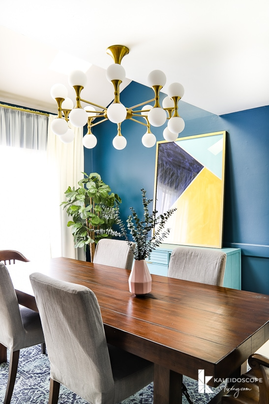 eclectic navy blue dining room