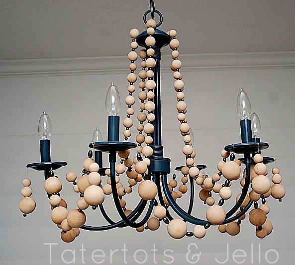 beachy wood bead chandelier