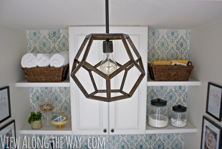 wood dodecahedron light