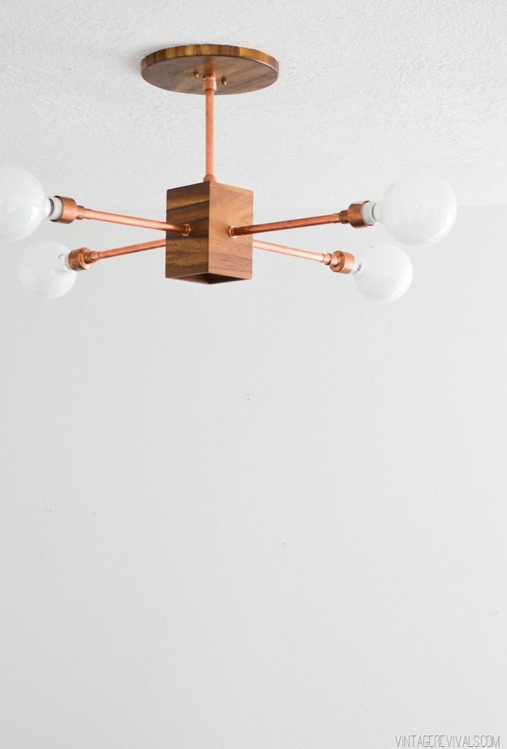 wood and copper chandelier