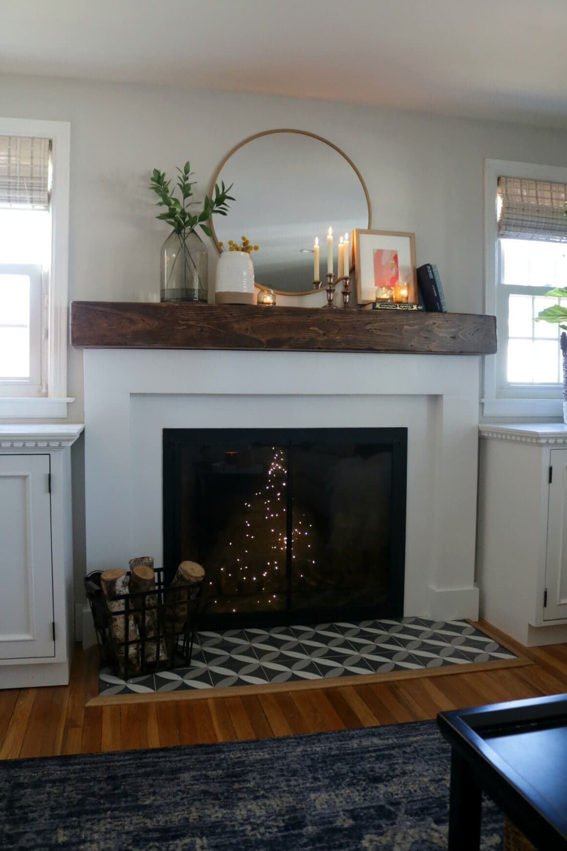 deco tile and wood mantel