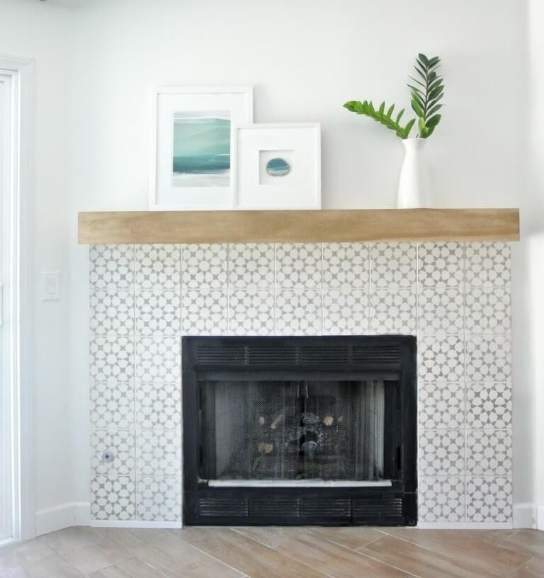 cement tile with birch mantel