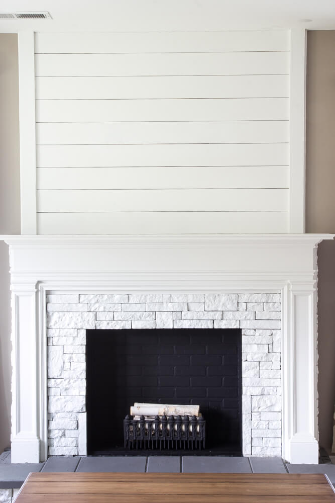 shiplap and brick faux fireplace