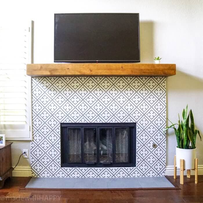 cement tile with wood mantle