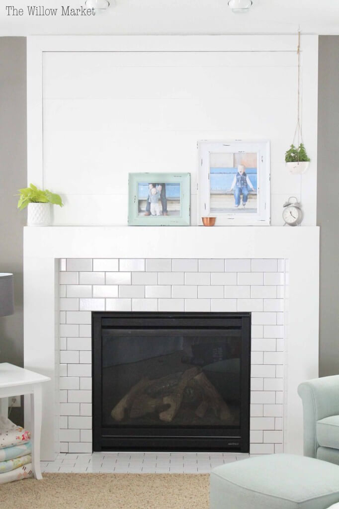 shiplap and subway tile fireplace