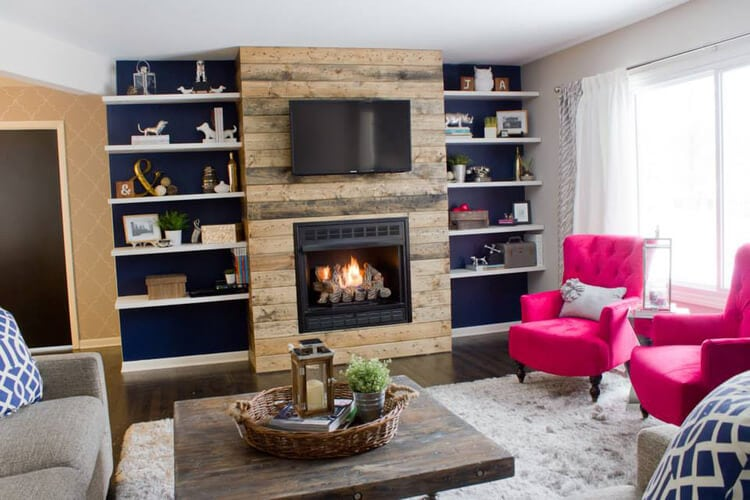 reclaimed wood fireplace with floating shelves