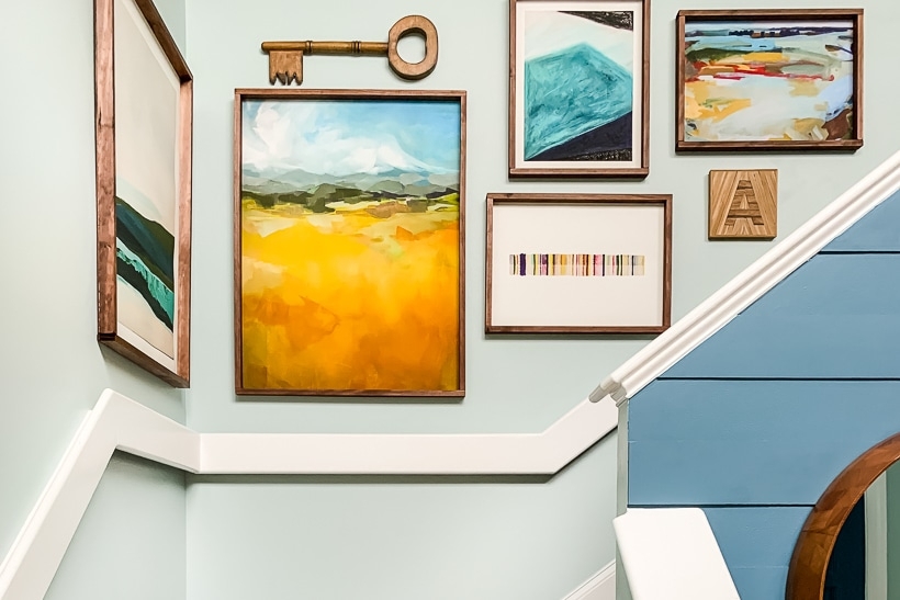 diy art frames hanging on wall