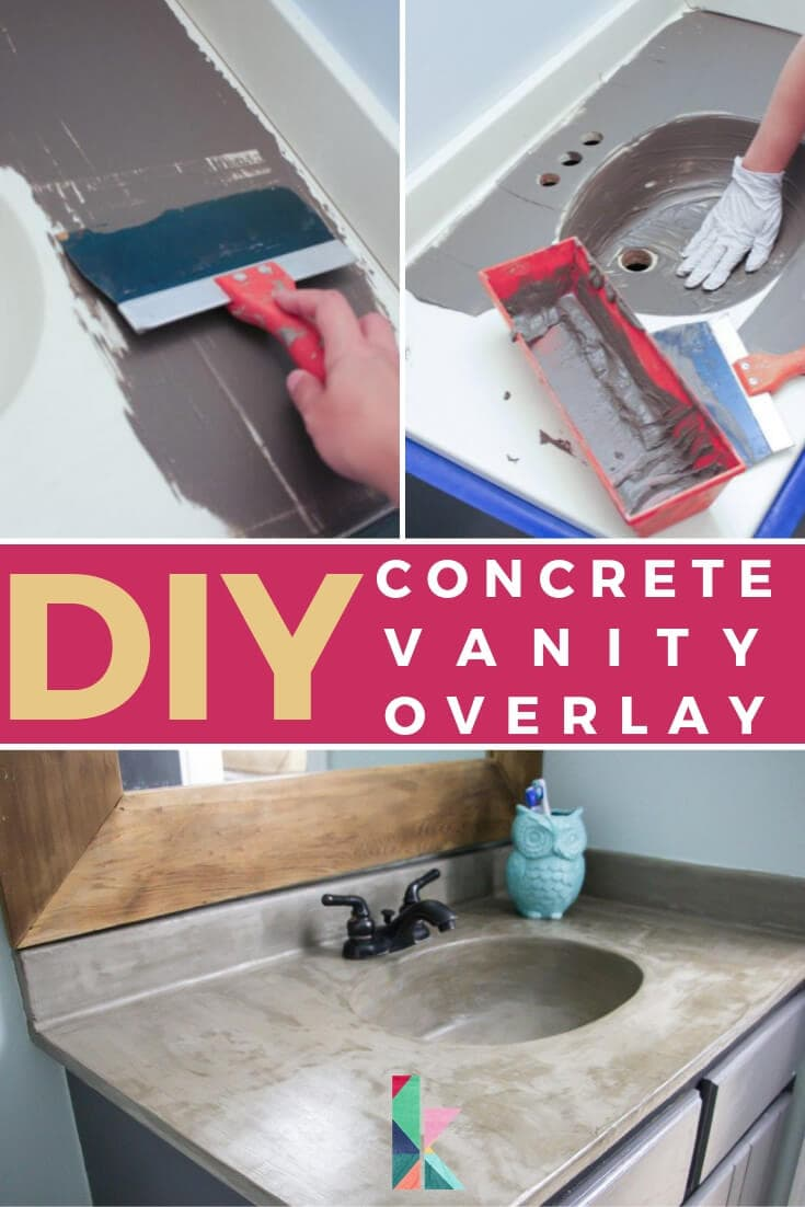 DIY concrete vanity overlay